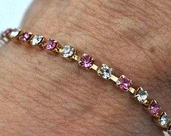 "Pink and Clear Tennis Bracelet, Rhinestone Bracelet, Gold Tone Bracelet, 7"" Bracelet, Dainty Bracelet, Pink Bracelet, Sparkly Bracelet GS164"
