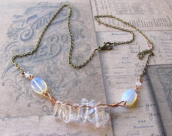 Item 9324 Crystal Cluster Moonstone Antique Bronze Chain Necklace