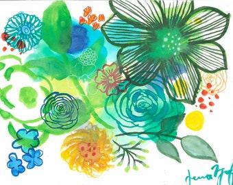 Green Floral Print