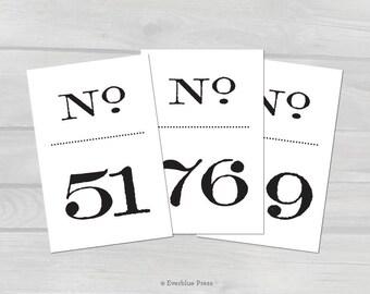 PDF Printable Wedding Table Numbers Signs | Numbers 51-100 | 4x6 | Old Fashioned Black Numbers | Vintage Literary Wedding | Stamped Antique