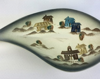 Sascha Brastoff Pottery Signed Free Form Roof Top Dish Mid Century Modern