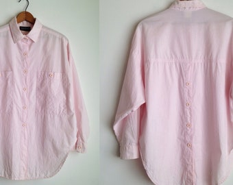 vintage 80s shirt womens cotton oversized shirt 80s button up shirt 80s clothing pink cotton blouse long sleeve collared