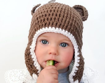 Brown Bear Beanie with Straps / Winter Hat / Baby Beanie / Baby Hat / Mummy and Me Beanies