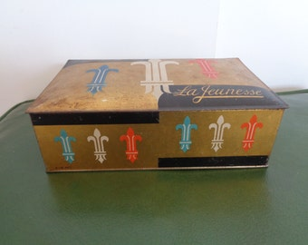 Antique Tin Box with Lid, Candy Tin,Trinket Box, Cookie Tin