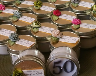Gold Soy Candle Favors | 4oz | gold celebration | 50th anniversary | gold wedding | your choice initial | Custom Order