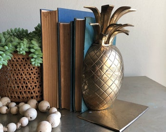 Vintage large brass pineapple bookend single singular