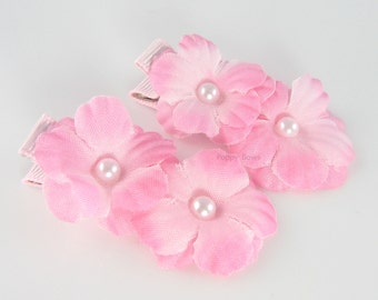 Light Pink Flower Hair Clips  - Tiny Silk Flowers - Matching Pair with Pearl Centers - Alligator Clip for Baby Toddler Girls