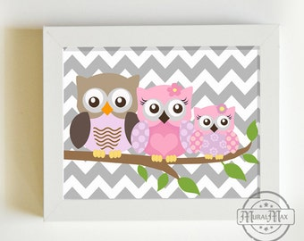 Owl Nursery Art Print for Baby Girls room,  Owls Nursery Art - 8x10 - Pink and Purple Nursery Decor