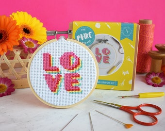 Cross stitch kit, LOVE cross stitch, mothers day, modern stitch, counted cross stitch, gifts for her, needlepoint, gifts for mum, love gifts
