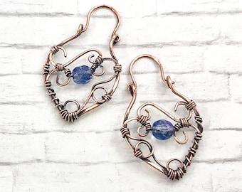 copper earrings, wire-wrapped earrings, handmade earrings, Mothers Day gift, bead earrings