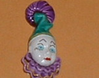 Vintage 1980's Metal Mardi Gras Pin or Brooch with Clown Face & Teardrop New Orleans