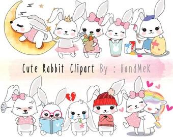 Cute Rabbit ,Kawaii rabbit clipart instant download PNG file - 300 dpi