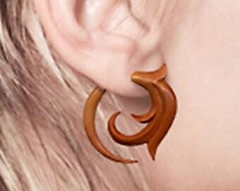 Fake Gauges, Tribal Earrings, Fake Gauge Earrings, BOHO Earrings, Wood Earrings, Tribal Jewelry, Organic Jewelry, TribalStyle - W14
