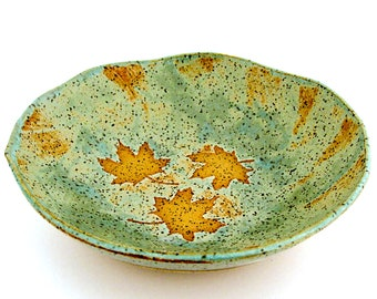 Ceramic Bowl - Maple Leaves -  Decorative Bowl - Serving Bowl - Trinket Dish - Handmade Stoneware Pottery