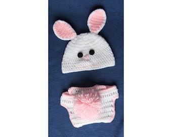Easter Bunny Hat With Pom Pom Tail - Bunny Hat With Pom Pom Tail - Rabbit Hat With Pom Pom Tail - Rabbit Ears - With Pom Pom Tail