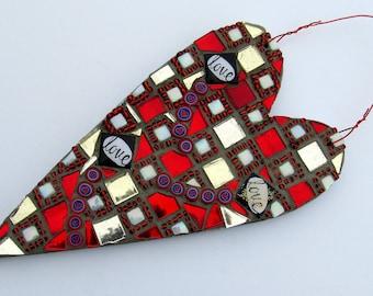 Mosaic Heart Valentine Wall Hanging-mosaic art-mosaic wall hanging-heart themed-valentine's day gift-mixed media-heart wall hangingmosaic-