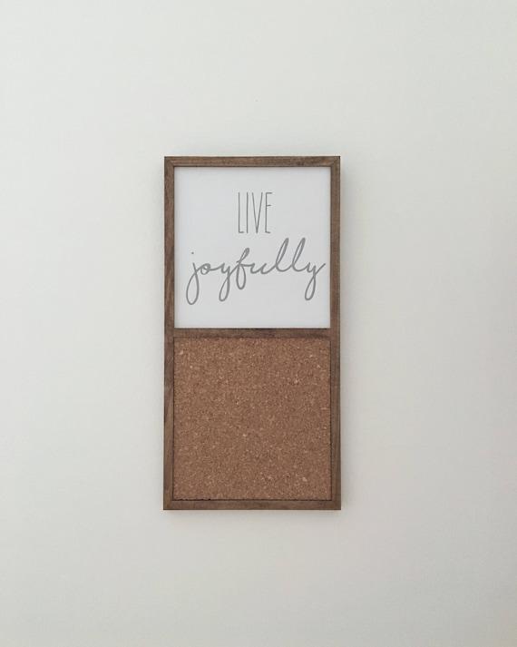 Live Joyfully Wood Sign & Cork Board ~ Handmade Wood Sign
