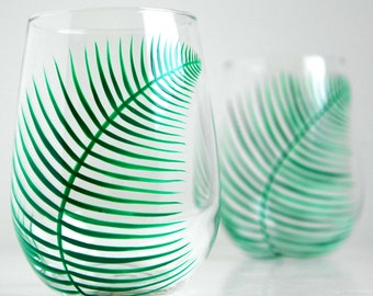 Green Ferns Stemless Wine Glasses - Set of 2 Hand Painted Fern Glasses