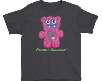Pink Peanut Allergy Munchie Monster Kid's Allergy Alert Youth Short Sleeve T-Shirt