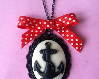 Pendant cameo anchor and bow ♥ ♥