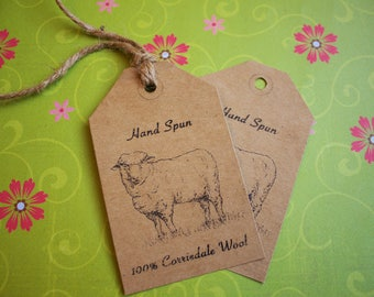 "Tags for Corriedale Wool-Printable PDF- ""Hand Spun Yarn"""