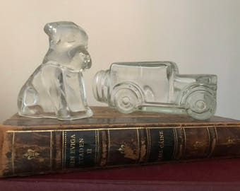 Pair of Vintage Figural Candy Containers, 1940's, Puppy and Truck, Federal Pressed Glass
