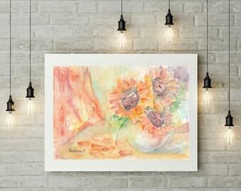 Sunflower Digital Print Flower Printable Wall Art Download Artwork Print Watercolor Instant Download Art Digital Download Art Printable Art