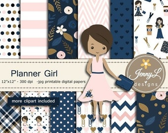 50% OFF Planner Girl Digital Papers and Clipart SET, planner notebook for Birthday, Digital Scrapbooking ,Invitations, Planner