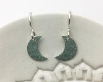 Crescent Moon Earrings, Celestial Earrings, Sterling Silver Earrings, Lunar Jewelry, Silver Earrings, Lunar Earrings, Moon Jewelry