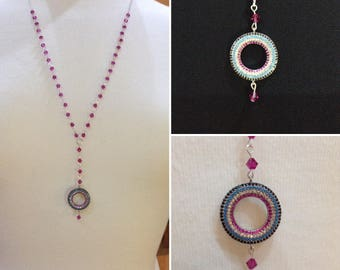 SALE ** 1/2 price **Cubic zirconia and Swarovski crysal beaded pendant long statement necklace