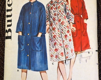 Vintage 1960's  Sewing Pattern Butterick 2887 Misses' Robe  Bust 36 inches Complete