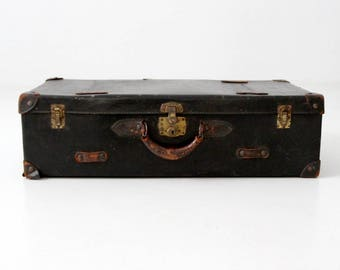 vintage black suitcase, stacking suitcase with leather handle