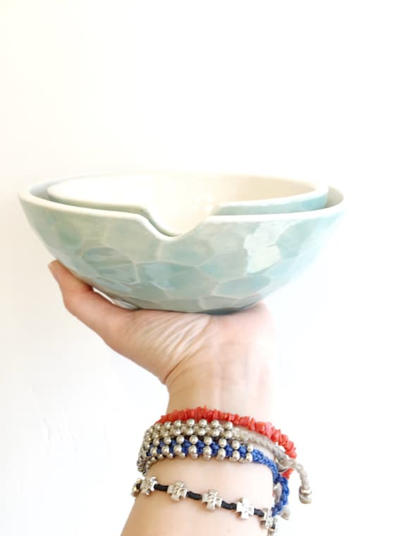 Faceted Mixing & Serving Bowls Porcelain Nesting Choose Your Favorite Color MADE TO ORDER