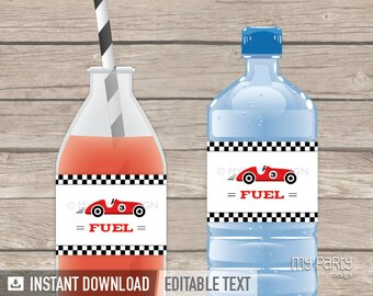 Car Race Party - Bottle Labels - INSTANT DOWNLOAD - Printable PDF with Editable Text