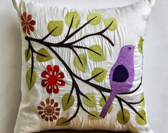 Decorative Throw Pillow Covers Accent Pillow Couch Pillow 20 Inch Silk Pillow Cover Colorful Embroidery Home Decor Housewares -Birdy Style