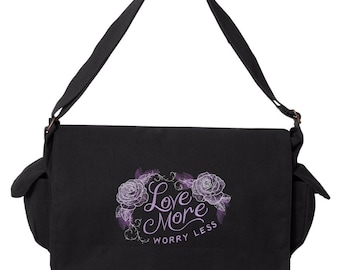 Quote Messenger Bag, Warm Thoughts - Love More Worry Less Embroidered Canvas Cotton Messenger Bag