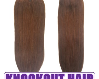 """Fits like a Halo Hair Extensions 20"""" Chocolate Brown (#4) - Human No Clip In Flip In Couture by Knockout Hair"""