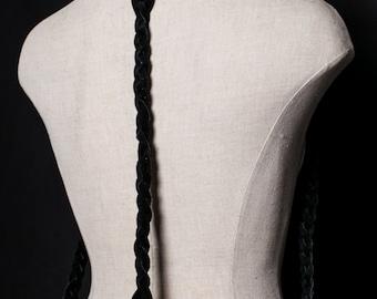 JAKIMAC Braided Suede Drape Harness / Braid Detail Suede Harness- Black