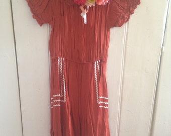 Orange and lace/patterned folk boho dress