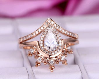 2pcs Brilliant Moissanite ring sets/Diamond Engagement ring in 14k rose gold/Curved Crown Band/Bridal wedding ring/Crown moissanite ring