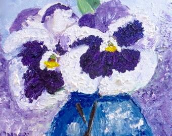 Stiefmütterchen Original Ölgemälde lila weiß-Öl 6 x 6-Leinwand-Home Decor-Hochzeit Gift-Impasto-Spring-Cottage-Impasto-Blue Glas Vase-Blumen-Stiefmütterchen