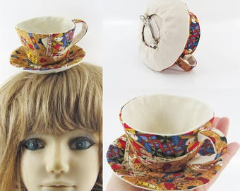 MADE-TO-ORDER ( 1 - 2 Weeks)- Teacup Fascinator-Queen of Quilts