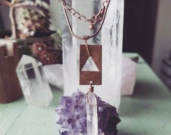 Tri x Copper and quartz necklace