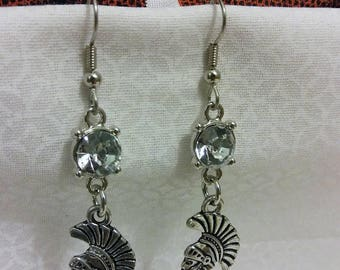 Trojans Earrings Game Day Drop Earrings with Stainless Steel Hooks and Rhinestones