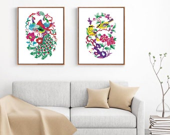 Chinese Paper Cutting Birds and Flowers set of 4, Chinoiserie design inspiration, craft, card, scrapbook, Wall Art, INSTANT DOWNLOAD