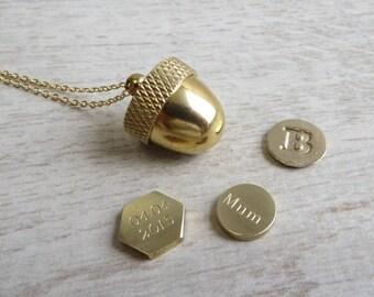 Secret Container Acorn Locket Necklace Charm Keepsake Personalised Gift Wrapped