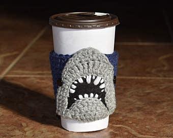 Shark Cup Cozy, Coffee Cozy, Cup Sleeve, Shark Lover Gift, Beverage Cozy,  Drink Cozy, Animal Cup Cozy, Crochet, Coffee Sleeve
