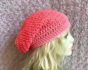 Peach Gradient Slouchy Crochet Hat