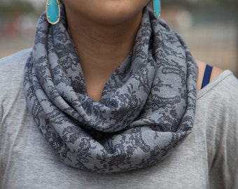 Light Grey with Dark Grey Lace Pattern Infinity Scarf (Cowl)