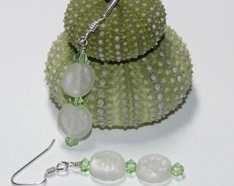 Cool Mint Green Swarovski & Frosted White Disk Sterling Silver Dangle Handmade Earrings